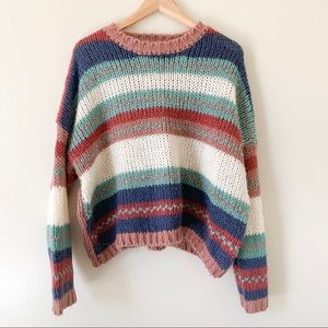 Chunky Knit Oversized Crop Sweater Large